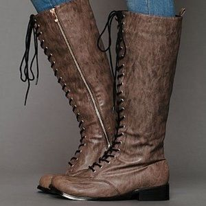 Free People Tall Vegan Leather Lace Up Boots Tan